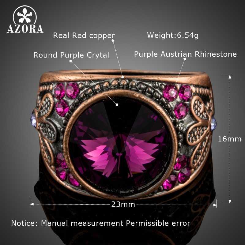 AZORA, винтажный набор для резьбы в виде цветка с большими круглыми розовыми красными кристаллами Stellux, кольца на палец TR0186
