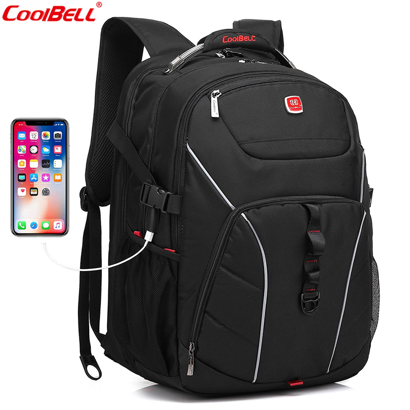CoolBeLL Brand Laptop Backpack 18.4 inch Computer Bag With USB Port Waterproof School Bags Large Capacity Backpack For Women Men ozuko 14 inch laptop backpack large capacity waterproof men business computer bag oxford travel mochila school bag for teenagers