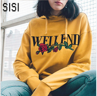 New High Quality Hooeded Sweatshirt Women Elegant Embroidery Flowers Long Sleeved Pullover Fashion Hoodies American Apparel