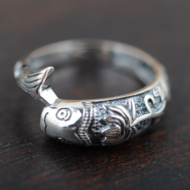 925 Sterling Silver Ring Cute Lucky Fish With Lotus Retro Vintage Style Animal Rings For women