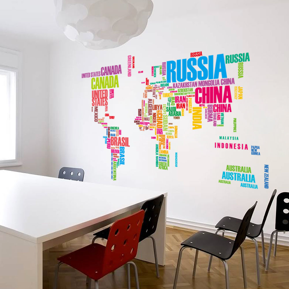 Colorful World Map In Words Home Decor Wall Sticker Wallpaper Wall - World map wallpaper for walls india