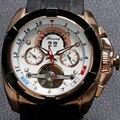 Forsining Tourbillon reloj mecánico reloj de hombre multifunción diales Rubber Band relojes para hombres relojes de W180802
