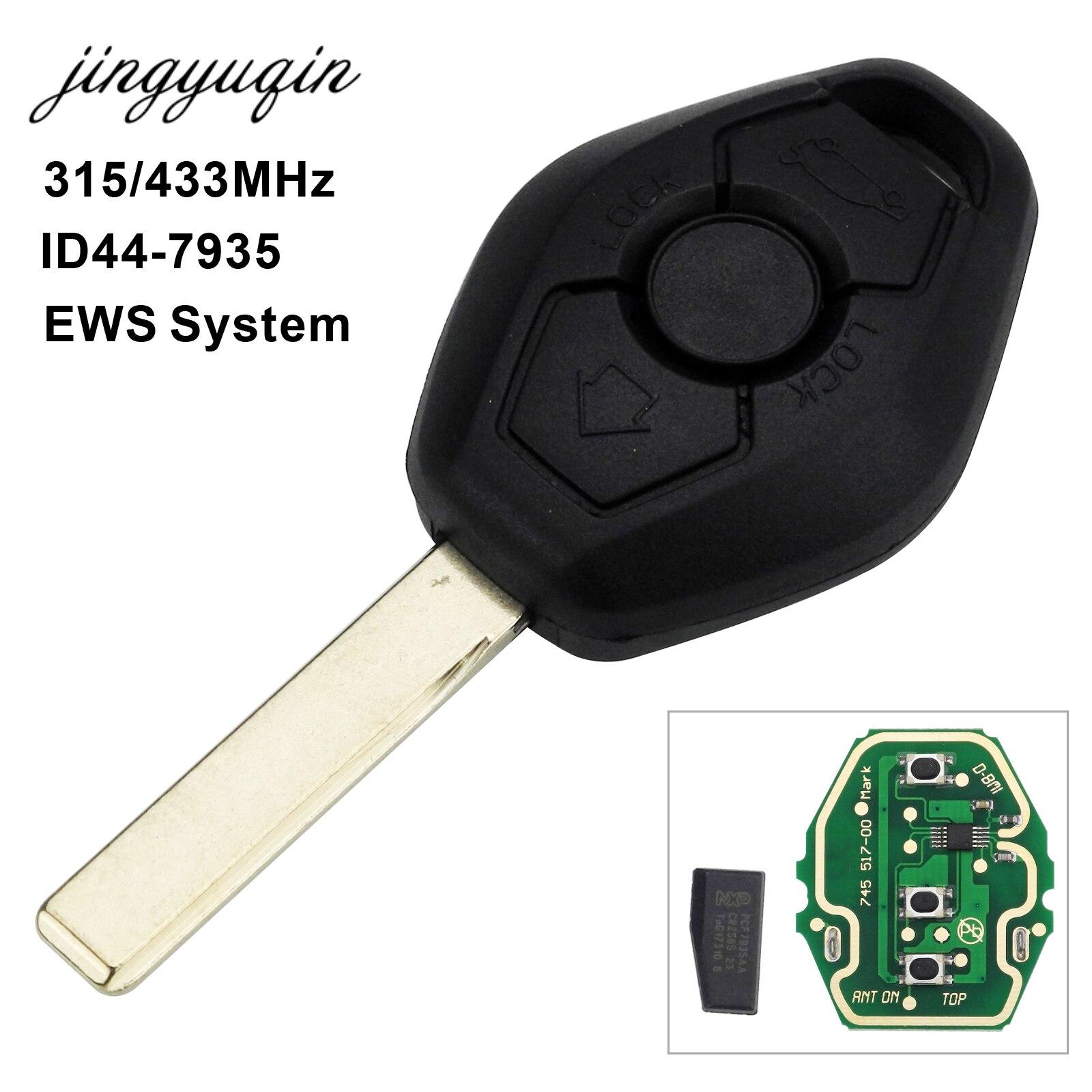 jingyuqin Car Remote Key FOB for BMW EWS X3 X5 Z3 Z4 1/3/5/7 Series E38 E39 E46 315/433MHz ID44 Chip Keyless Entry Transmitter