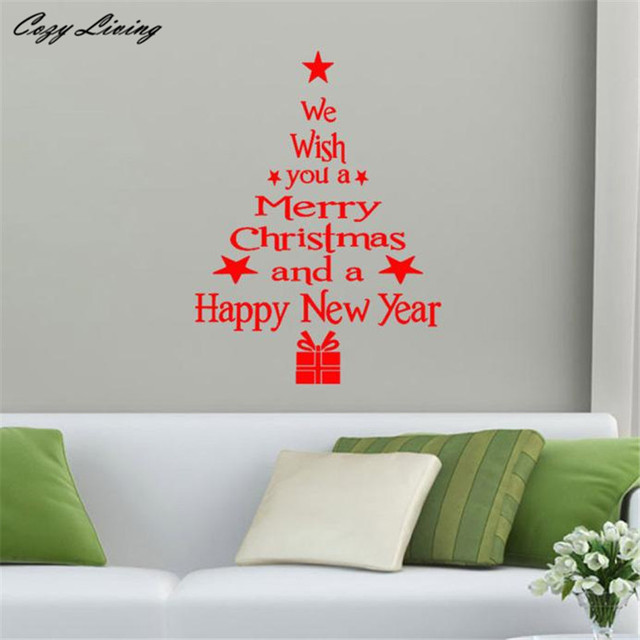 Christmas Tree Letters Stick Wall Art Decal Mural Home Room Decor Wall  Sticker Wall Decor Art