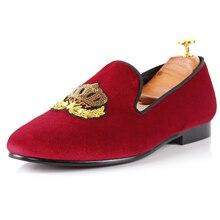 Harpelunde Лоферы Мужские туфли для вождения Красного бархата с вышивкой обувь Лидер продаж на плоской подошве размеры 7–14