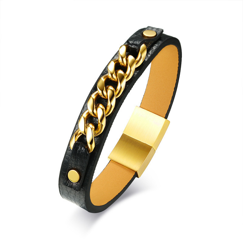 Высокое качество браслет из нержавеющей стали ip gold покрытие браслет Искусственная кожа мужские браслеты