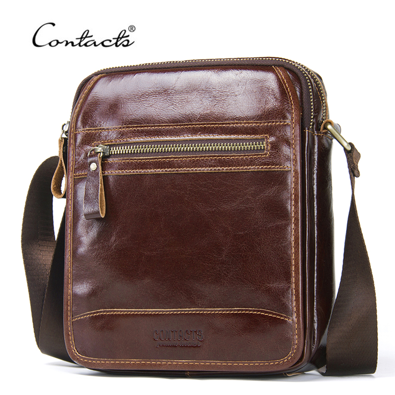 CONTACTS New Fashion Cowhide Men Messenger Bags Small Genuine Leather Male CrossBody Bag Casual Mens Shoulder Bag Travel BolsaCONTACTS New Fashion Cowhide Men Messenger Bags Small Genuine Leather Male CrossBody Bag Casual Mens Shoulder Bag Travel Bolsa