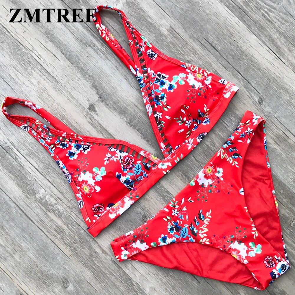 ZMTREE Retro Printed Bikini Set Floral Swimsuit Women Bathing Suit Hollow Out Swimwear Red Bikini Plus Size Biquini XL 2018 stylish halterneck hollow out women s bikini set