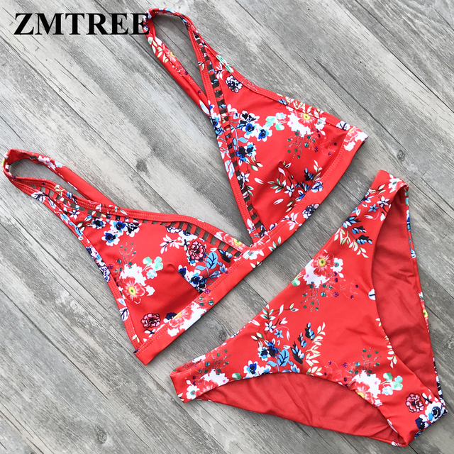 fa4b873f01 Special Price ZMTREE Retro Printed Bikini Set Floral Swimsuit Women Bathing  Suit Hollow Out Swimwear Red