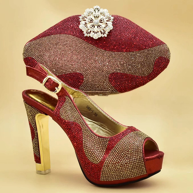 Italian Shoes with Matching Bags for Wedding Italy High Heels Women Wedding Shoes Decorated with Rhinestone Shoe and Purse Set