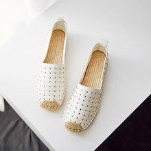 Nouveau Mode Espadrilles Chaussures Femmes Pêcheur Plat Mocassins Tissage Sandales En Cuir Cristal D'été Printemps Marche Chaussures de Conduite