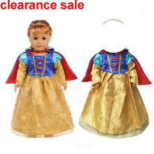 18 inch girls doll dress princess Snow White dress for baby doll toys clothes children birthday gift(China)