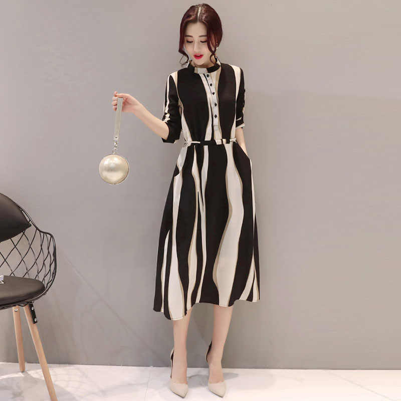 Frauen Kleid Gestreiften A-linie Kleider Mit Gürtel Stehen Kragen Koreanischen Stil Mode-Design Frau Sommer Chiffion Kleid