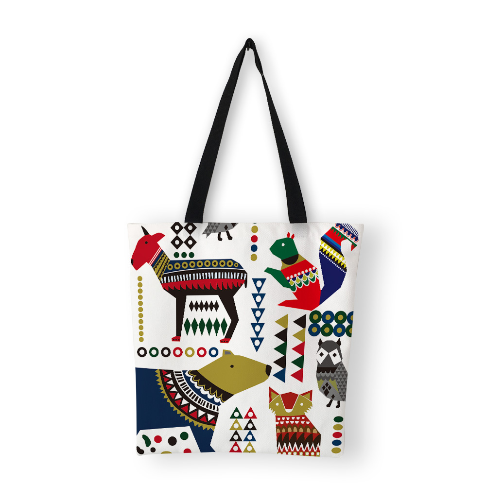 US $8.0 60% OFF|Classic Totem Print Canvas Bags Shopper Bag Design Bags Women Handbag 2019 on AliExpress