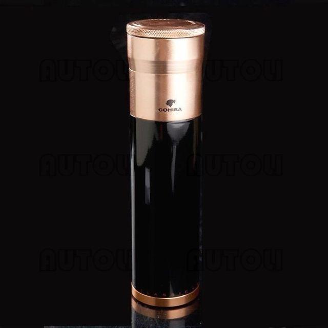 Metal Travel Cigar Case Humidor Tube Golden Black Portable