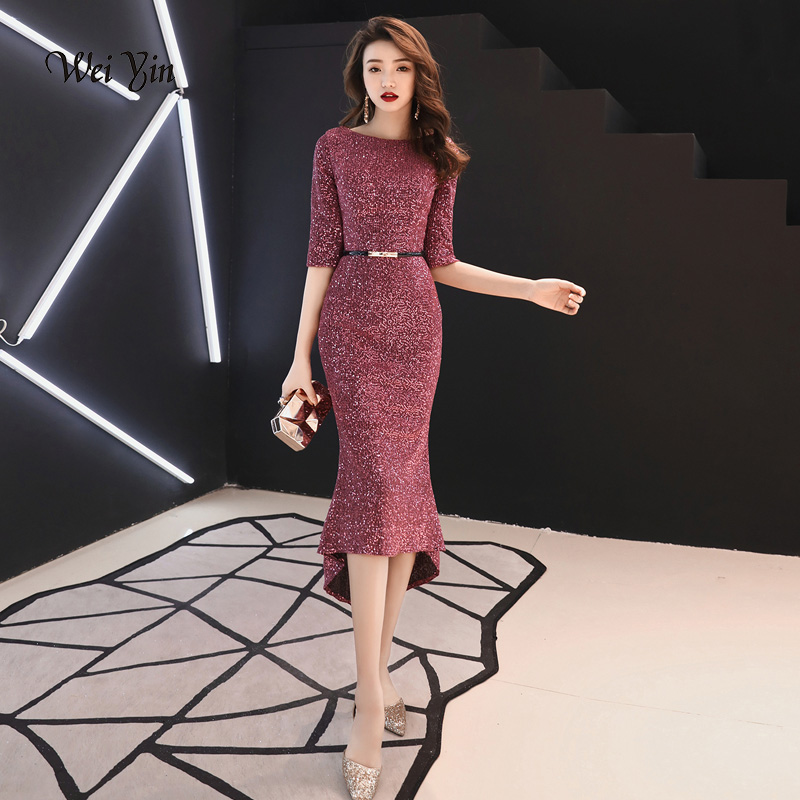 weiyin O Neck Sequin Gown Sexy Mermaid   Dress   Elegant Short   Evening     Dresses   Vestido Formal   Evening     Dresses   Abendkleider WY1246