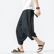 Autumn Harajuku Men Hip Hop Harem Pants Summer 2019 Trousers Mens Casual Pants Male Stripe Calf-length Pants Chinese Style 5XL cheap VOLGINS Full Length Flat Linen COTTON Midweight Pockets Broadcloth REGULAR Drawstring asian size spring summer autumn dropshipping