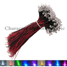 3mm/5mm Merah/Hijau/Biru/RGB 3 V 5 V 12 V DC Putaran Pra-kabel Air Batal LED 10-100 PCS(China)