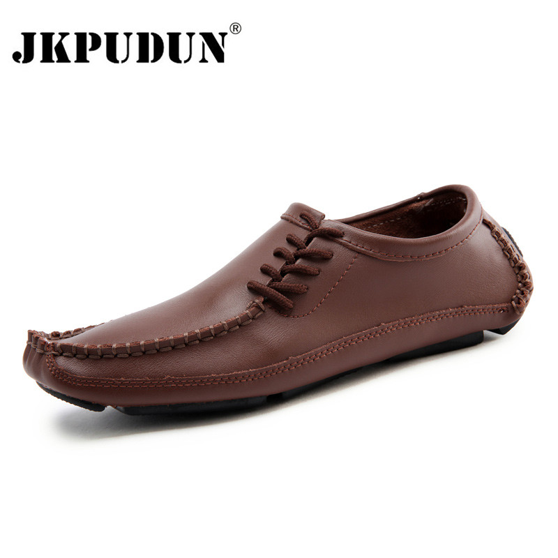 JKPUDUN Italian Men Shoes Casual Luxury Brand Summer Mens Loafers Soft Leather Moccasins Breathable Slip On Boat Shoes Plus Size