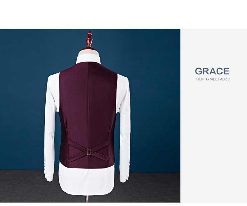 Ch。kwok紳士カスタムメイド男性のスーツテーラースーツブレザースーツ男性のための3ピース(ジャケット+パンツ+ベスト)結婚式メンズ服