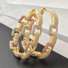 Lanyika תכשיטים פשוט שרשרת צורת גדול סגלגל כבד חישוקי אוזן לולאות מצופה חתונה אירוסין יוקרה עגילי מתנה הטובה ביותר