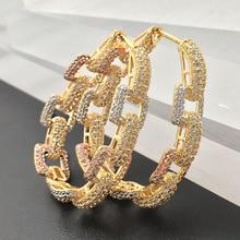 Lonka mode bijoux Simple chaîne forme grand ovale lourd cerceaux boucles doreille plaqué mariage fiançailles luxe boucles doreilles meilleur cadeau