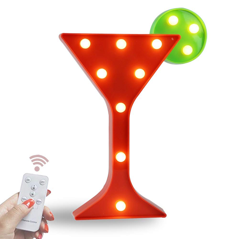 Light Up Wine Martini Cocktail Cup Shaped Marquee Sign