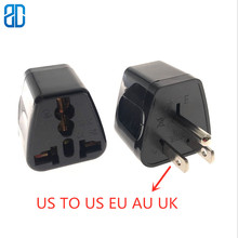 1PCS US 5-15P Male TO EU AU UK  Universal Plug AC Power Socket Adapter Converter 10A 250V