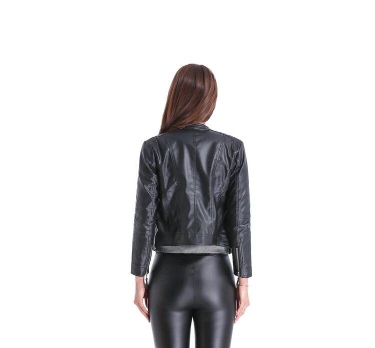 2018 Yeni Moda Kısın Yaka Kadın Deri Ceketler Ince PU Deri Motor - Bayan Giyimi - Fotoğraf 5