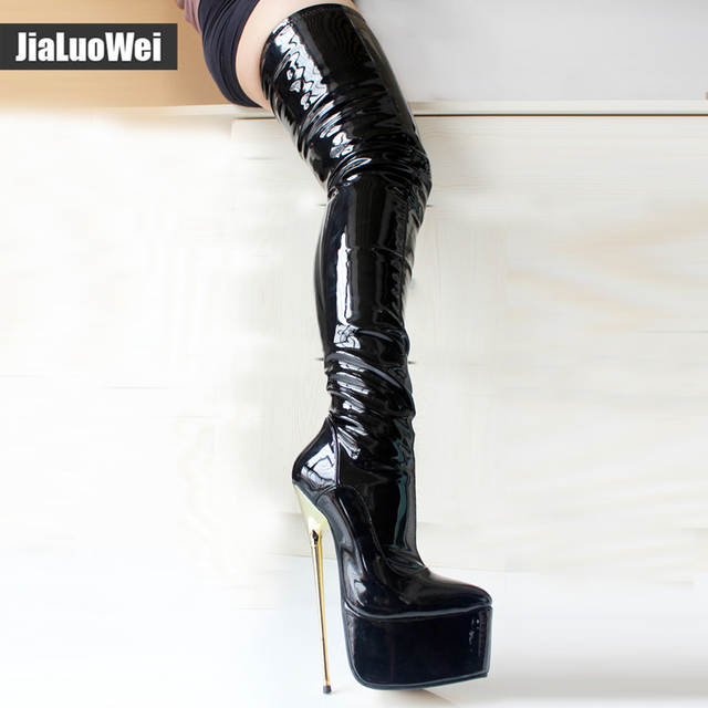 935f60030f8 Online Shop jialuowei 22CM Extreme High Gold Metal Heel Stiletto Pointed  Toe Platform Women Sexy Fetish Side Zip Over Knee Crotch High Boots