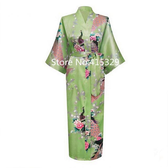 Продвижение зеленый женщины-де-режим сексуальное женское белье женские шелковый район одежды платье длинные пижамы ночной рубашке цветок кимоно pijamas mujer NR021
