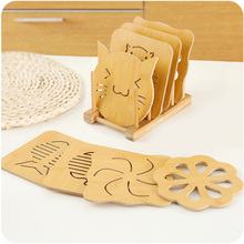 Cartoon Wooden Table Drink Coaster Set Creative Placemat Cup Mat Pad Coffee Cups Porta Copos Home Decoration Kitchen Accessories