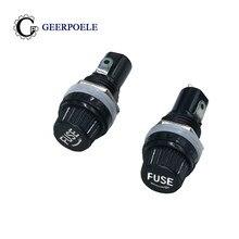 Tubo de seguramento 5 pçs/lote 5*20mm 10a 250v, suporte de fusível de vidro 5x20 preto painel da soquete tomada de fusível para montagem de cobre