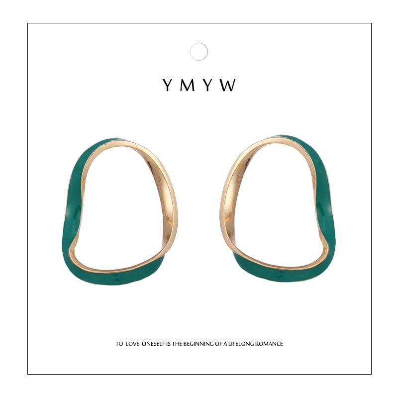 YMYW New Trendy Geometric Hollow Stud Earrings 2018 Green Enamel Golden Romantic Simple Metal D'oreille Pendante Femmes Gift