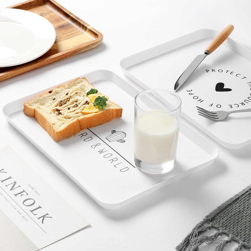 간단한 북유럽 직사각형 트레이 아침 식사 저녁 식사 케이크 빵 과일 접시 디저트 접시