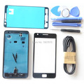 Original S2 Full Housing Case + Front Glass Screen Adhesive tools for Samsung Galaxy SII i9100 Black White Free USB Cable