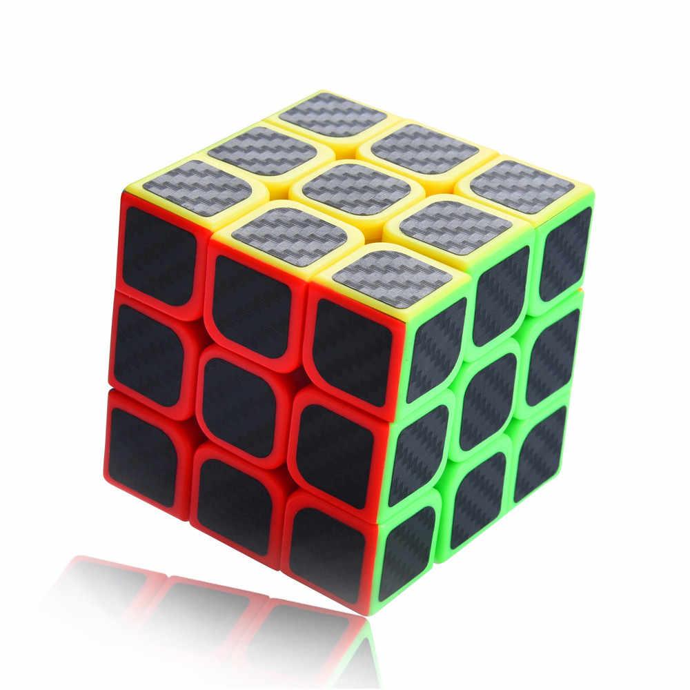 ホット 3 × 3 × 3 スピードキューブ炭素繊維ステッカースムーズルービックマジックキューブパズル教育遅い上昇趣味おかしい子供ギフトドロップシッピング