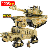 Army Tank Building Blocks Bricks Military Vehicles Compatible LegoINGLYS Weapons Brinquedo Menina Toys For Children 2 IN 1