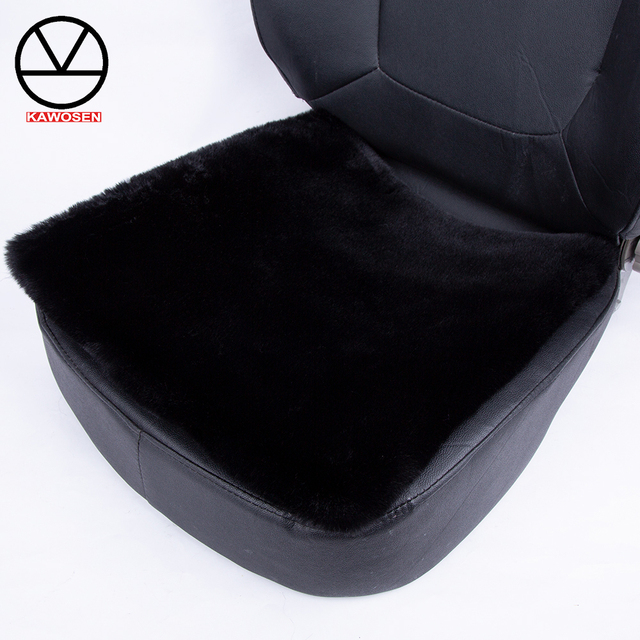 KAWOSEN Universal Faux Rabbit Fur Seat Cover,Cute Car Interior Accessorie Car Cushion Styling,Plush Black Car Seat Covers FFFC03