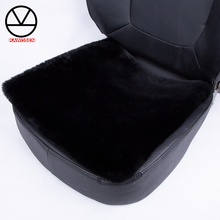 KAWOSEN האוניברסלי פו ארנב פרווה מושב כיסוי, חמוד רכב פנים אבזרים לרכב כרית סטיילינג, קטיפה שחור רכב מושב מכסה FFFC03