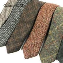 Новинка г. Шерстяные Галстуки для мужчин Высококачественная брендовая одежда узкий галстук в клетку 5 см Для мужчин S галстук для свадьбы Галстуки