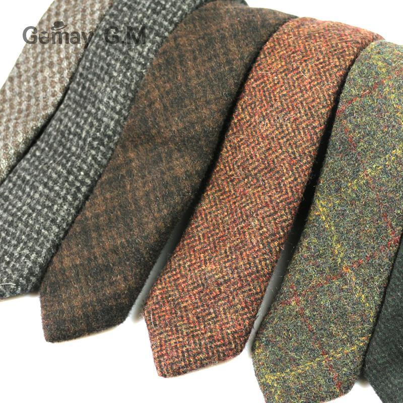New 100% Wool Ties For Men High Quality Brand Narrow Slim Tie Plaid 5cm Mens Necktie For Wedding Cravats