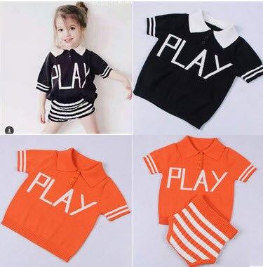 2017 Summer Play Knitted Jumper T-shirt Tee Tops Stripe Shirt Bread Pants Shorts Children Baby Designer Clothes Boys