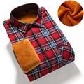 Camisa inverno quente de manga longa camisas casuais com espessura de veludo qualidade da marca dos homens camisas de vestido camisas xadrez masculina MGCS1