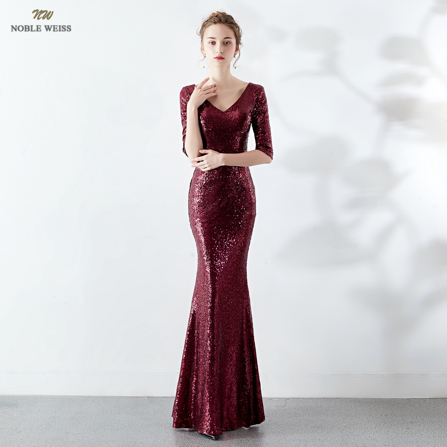 Long   Evening     Dresses   Dark Red Sequined Mermaid   Evening   Gowns Sexy V-Neck Women Formal   Dresses   With Half Sleeves