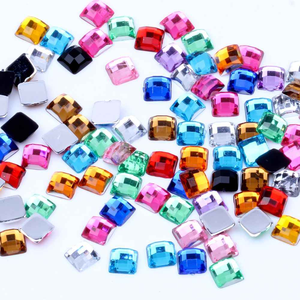Square Earth Facets Acrylic Rhinestones Flat Back 4mm 5mm 6mm Many Colors  For Nails Art Glue a18228953333