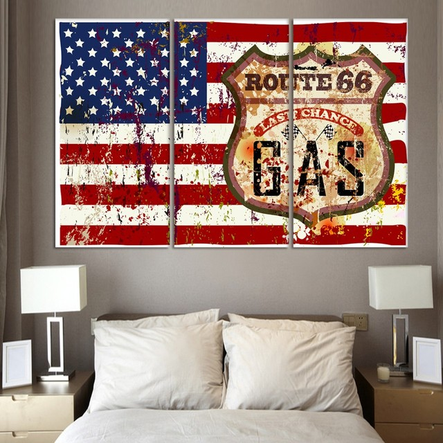 3 Piece Club Bar Modern American Flag Wall Painting Home Hallway Gallery  Hall Wall Decor Art Part 71