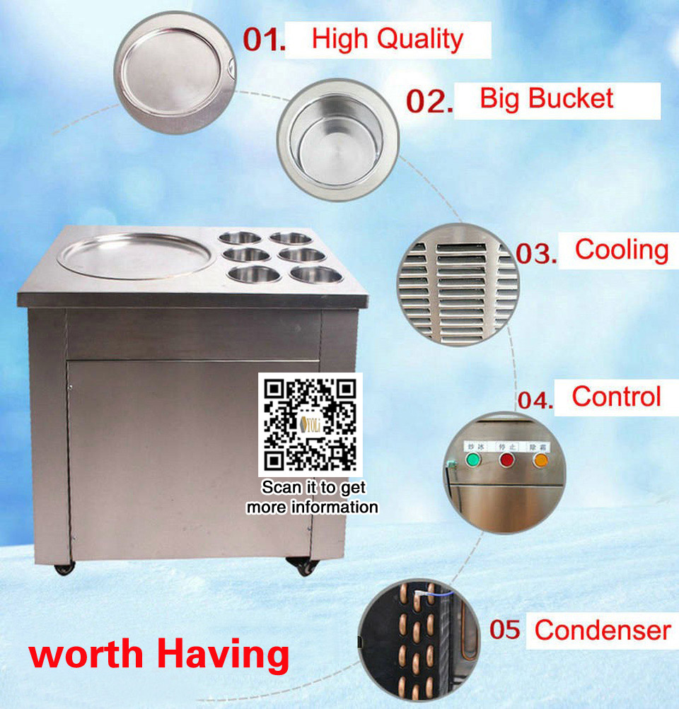 frozen ice cream machine Ice Cream Roll Pan pan size 45 cm temperature control fruit ice cream maker free shipping