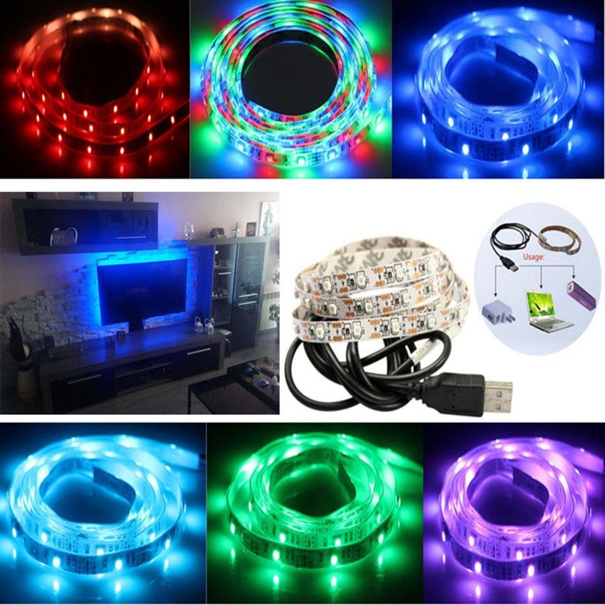 Hot USB Cable Power 0.5M 1M 2M 3M 4M USB LED Strip Light DC 5V 3528 - Iluminación LED