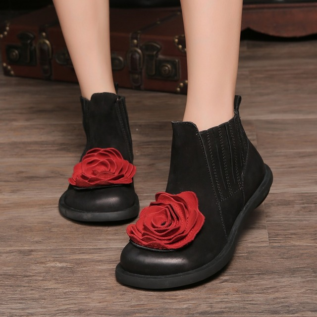 2017 Big Red Flower Women Boots Cow Suede Round Toes Ankle Boots Flat Heels Handmade Shoes Vintage Boots